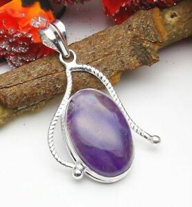 Amethyst Lace Agate Pendant Gemstone Jewellery 925 Silver OVERLAY Hand Made 48mm