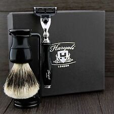 Men's Shaving Set With (Badger Hair Brush, Gillette Mach 3 Razor & Dual Stand)