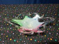 Vintage Murano Art Glass Star Fish  Bowl Candy Dish Abstract Green, Pink,Blue