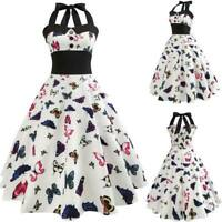 Women floral Sleeveless Summer Evening Party Retro Dresses Swing halter Dress
