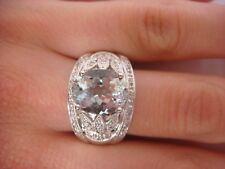 14K WHITE GOLD, 3 CARAT AQUAMARINE AND DIAMONDS LARGE UNISEX RING 7.2 GRAMS