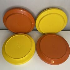 More details for vtg tupperware seal n and serve (x4) yellow orange bowl + lid (plate) 8