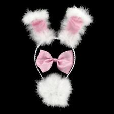 Girls Costume Pink White Fluffy Bunny Dress up Set Hen Night Kids Party Supply