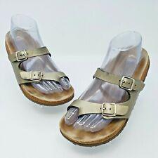 Mephisto Womens Helen Gold Leather Toe Loop Slide Sandals EUR 37 US L6-6.5