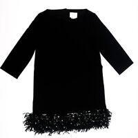 Kate Spade Solid Black Crepe Sequin Fringe Drop Waist Party Cocktail Dress 4