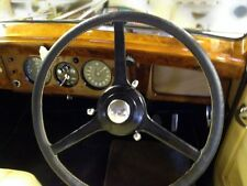 FOR BENTLEY MARK 6 46-52 REAL BLACK LEATHER STEERING WHEEL COVER CREAM STITCH
