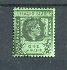 Leeward Islands KGVI 1938-51 1/- black & grey on emerald SG110bb MLH