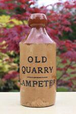 VINTAGE c1900s OLD QUARRY LAMPETER CEREDIGION WALES STONE GINGER BEER BOTTLE