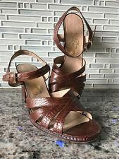 Salvatorre Ferragamo® Brown Croc Ankle Strap Chunky Heel Sandals  Size 8 M EUC