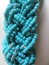 AA grade turquoise,choker, necklace/ 25ins/1.1 insW/braided,silver ends, crystal