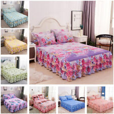 Floral Bed Skirt Pillowcases Bedding for Home Bedroom Full Queen King Size