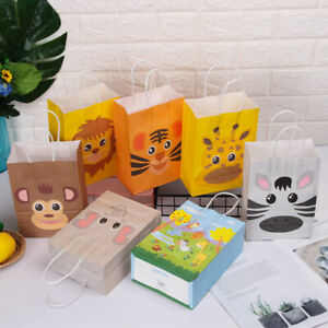 Party Supplies Kraft Paper Gift Bag Candy Package Jungle Safari Shop Loot