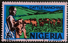 Stamp Nigeria 1973 5k Cattle Ranching Used