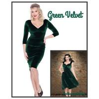 Bettie Page Holiday Vintage Inspired Emerald Green Plush Velvet Dress XS-XL