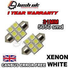 * Interior 2 x WHITE LED 31mm 6 SMD Light Bulb For Mitsubishi Shogun Pajero