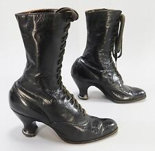 19th Century Antique Black Leather Shoes Victorian Steampunk Granny Boots