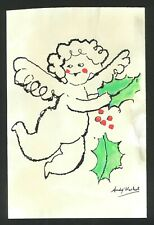 Original vintage rare ink on paper! hand signed Andy Warhol: CHRISTMAS ANGEL!
