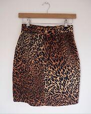 UK 6/8 xs Orignal 80s High Waist Leopard Denim Print Skirt Rockabilly Punk Riot