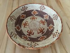 "Handmade Southwest Style Woven Weave Coil BASKET Bowl Decorative Round 14x2"" NWT"