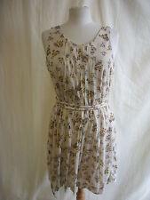Vestido De Las Señoras-Mango, talla XL, Beige, patrón Floral, Busto cinturón, Plegado 2211