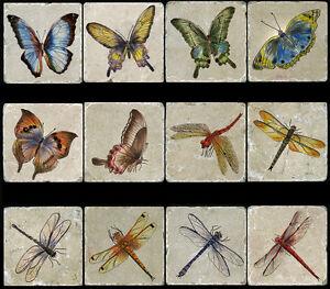 12 Butterflies Accent Tumbled Marble Tiles Kitchen Backsplash Ideas Stone Mural