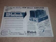 McIntosh MC-30 Mono Tube Amp Ad,1955,2 pgs,specs, RARE!