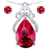 Sterling Silver Created Ruby Gemstone Lovely Heart Pendant Necklace Earring Set