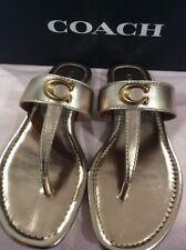 NIB Coach Jessie Logo Champagne Leathe Slides/ Flip Flop/Sandals Women's size 6