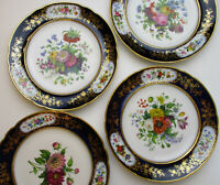 Rihouet Old Paris Porcelain set 4 floral cabinet dinner plates antique 1840