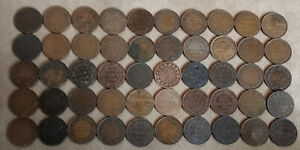 1859-1919 CANADA Antique Lot of 50 Large Cent 1c Penny 15 Victoria ACTUAL PHOTO
