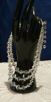 Laguna Vtg Triple Strand Clear Crystal Aurora Borealis Necklace Choker Style
