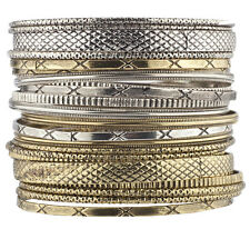Lux Accessories Gold and Silver Casted Aztec Etched Boho Bracelet Bangle Set