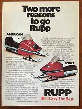 New listing Vintage 1974 Original Print Ad Rupp American & Sport Snowmobiles ~only the best~