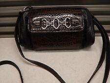 BRIGHTON Pebbled & Polished Mock Croc Leather Crossbody Bag