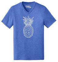Mens Pineapple Triblend V-Neck Food Graphic