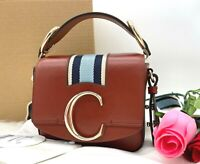 AUTH NWT Chloe C Mini Smooth Leather Striped Top Handle CrossBody Bag With BOX