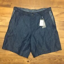 Armani Exchange Men's Denim Indigo Shorts Blue Cotton Linen Bermuda NWT