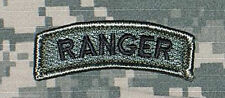 Ranger Tab US Army ACU Unit Patch w/ Hook Fastener Backing Free Ship to the US!