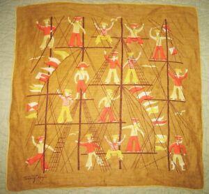 Vtg TAMMIS KEEFE Hankie Handkerchief SAILOR BOYS on TALL SHIP Colorful & Cute