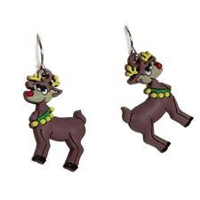 Novelty Christmas Rubber Reindeer Motif Drop Earrings Festive Xmas Accessories
