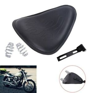 """For Harley Sportster Flame Leather SOLO Seat Cover + 3"""" Spring Bracket Mount Kit"""