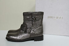 sz 9.5 / 39.5 Jimmy Choo Youth Silver Leather Short Buckle Biker Ankle Boot Shoe