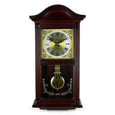"22"" BEDFORD COLLECTION MAHOGANY CHERRY OAK FINISH WALL CLOCK w/ PENDULUM & CHIME"