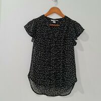 H&M V-Neck Blouse Size US 4 (AU 6) Black White Ruffle Sleeve Buttons Pintuck