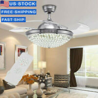 "42""3Speeds Crystal Ceiling Fan Light Retractable Blades Remote Control 3Colors"