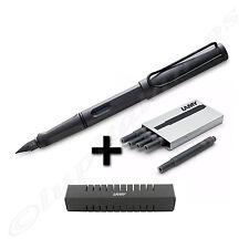 Lamy Safari Umber Fountain Pen Black Fine Nib + 5 Black T10 Ink Cartridges