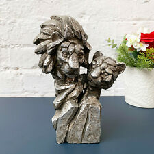 Silver Natural World Resin Lion Bust Safari Animal Statue Sculpture Ornament Art