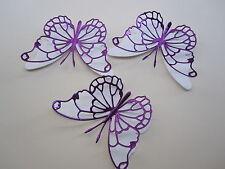12 media 3D Die Cut decorazioni di farfalla in Viola duur/carta bianca