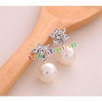 1 Pair Fashion Women Elegant Crystal Rhinestone Pearl Ear Stud Earrings Jewelry