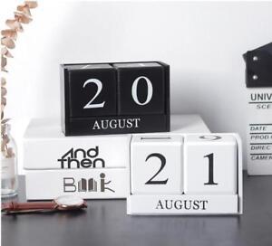 Wood Perpetual Calendar Manual Blocks Date Office Desk Accessory Decor Xmas Gift